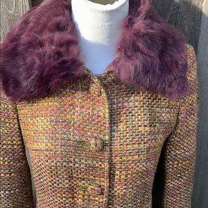 Pristine MARCIANO Fur Collar Multi Color Wool Coat
